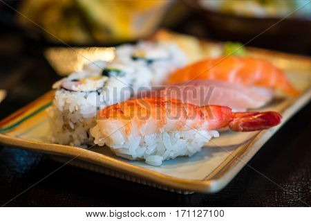 Closeup Of Japanese Nigiri Sushi
