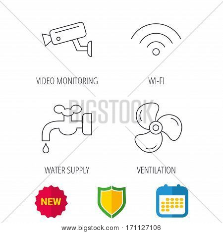 Wifi, video camera and ventilation icons. Water supply linear sign. Shield protection, calendar and new tag web icons. Vector