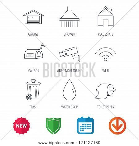 Wi-fi, video monitoring and real estate icons. Toilet paper, shower and water drop linear signs. Trash, garage flat line icons. New tag, shield and calendar web icons. Download arrow. Vector