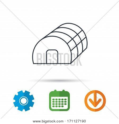 Greenhouse complex icon. Hothouse building sign. Warm house symbol. Calendar, cogwheel and download arrow signs. Colored flat web icons. Vector