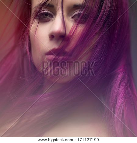 attractive portrait girl with styling violet hair