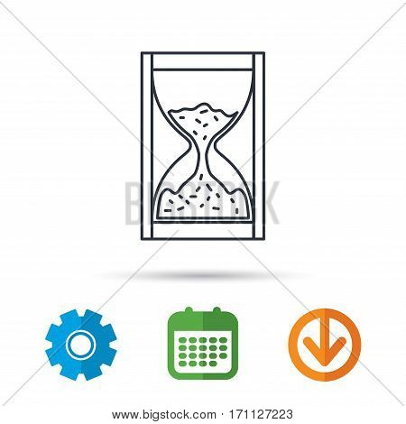 Hourglass icon. Sand time sign. Calendar, cogwheel and download arrow signs. Colored flat web icons. Vector