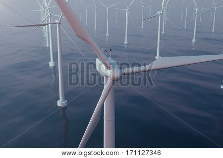 Beautiful sunset wind turbines in sea, ocean. Clean energy, wind energy, ecological concept, 3d rendering