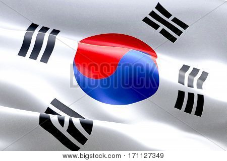 South Korea Flag Waving Texture Fabric Background, Crisis Of North And South Korea, Korean Risk War