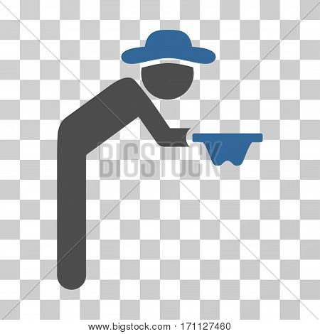 Gentleman Beggar icon. Vector illustration style is flat iconic bicolor symbol cobalt and gray colors transparent background. Designed for web and software interfaces.