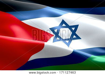 Israel Flag Inside Of Palestine Flag Gaza Strip Waving Texture Fabric Background, Crisis Of Israel A