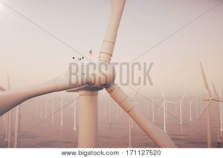 Beautiful sunset above the wind turbines in sea, ocean. Clean energy, wind energy, ecological concept, 3d rendering