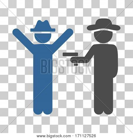 Gentleman Crime icon. Vector illustration style is flat iconic bicolor symbol cobalt and gray colors transparent background. Designed for web and software interfaces.