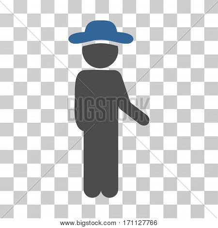 Gentleman Idler icon. Vector illustration style is flat iconic bicolor symbol cobalt and gray colors transparent background. Designed for web and software interfaces.