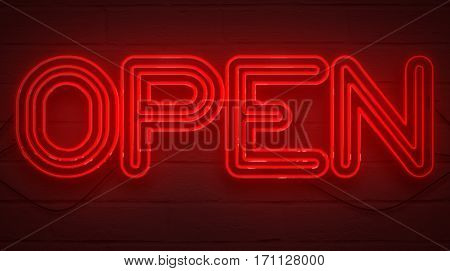 Flickering Blinking Red Neon Sign On Brick Wall Background, Open Shop Bar Sign