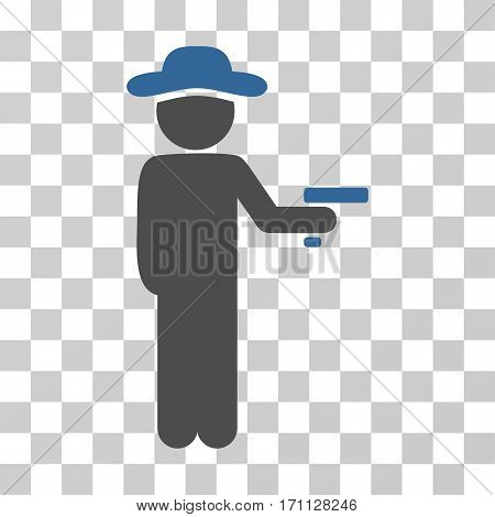 Gentleman Robber icon. Vector illustration style is flat iconic bicolor symbol cobalt and gray colors transparent background. Designed for web and software interfaces.