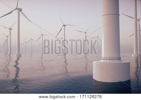 Beautiful the wind turbines in sea, ocean. Clean energy, wind energy, ecological concept, 3d rendering
