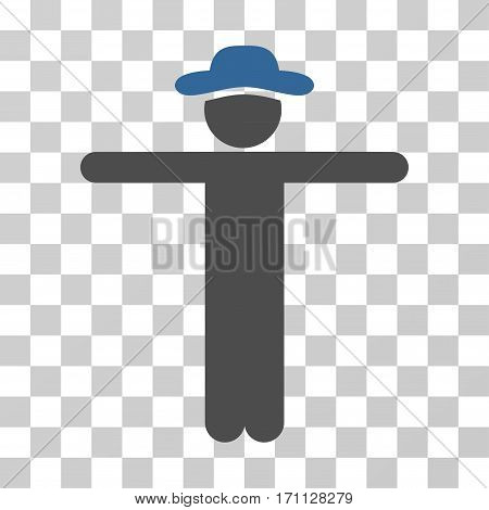 Gentleman Scarescrow icon. Vector illustration style is flat iconic bicolor symbol cobalt and gray colors transparent background. Designed for web and software interfaces.