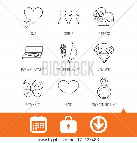 Love heart, brilliant and engagement ring icons. Bow, couple and gift box linear signs. Valentine amour arrows flat line icons. Download arrow, locker and calendar web icons. Vector