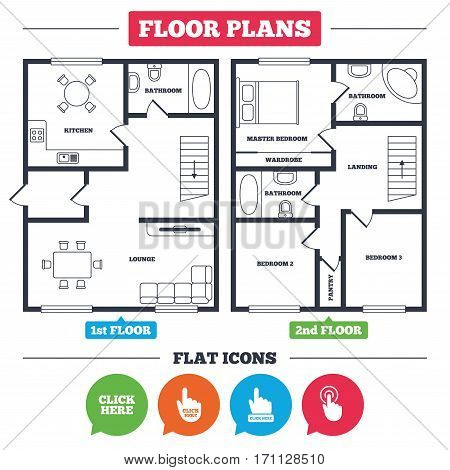 Architecture plan with furniture. House floor plan. Click here icons. Hand cursor signs. Press here symbols. Kitchen, lounge and bathroom. Vector