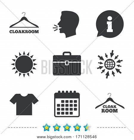 Cloakroom icons. Hanger wardrobe signs. T-shirt clothes and baggage symbols. Information, go to web and calendar icons. Sun and loud speak symbol. Vector