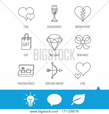Love heart, gift box and wedding rings icons. Broken heart and engagement linear signs. Valentine amour arrow, brilliant flat line icons. Light bulb, speech bubble and leaf web icons. Vector