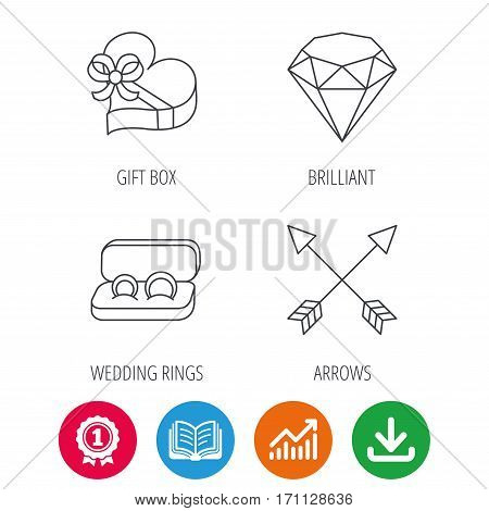 Brilliant, gift box and wedding rings icons. Arrows linear signs. Award medal, growth chart and opened book web icons. Download arrow. Vector