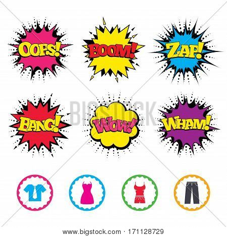 Comic Wow, Oops, Boom and Wham sound effects. Clothes icons. T-shirt with business tie and pants signs. Women dress symbol. Zap speech bubbles in pop art. Vector
