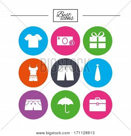 Clothing, accessories icons. T-shirt, business case signs. Umbrella and gift box symbols. Classic simple flat icons. Vector