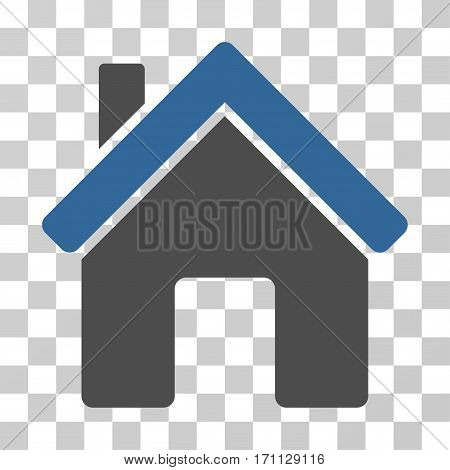 House icon. Vector illustration style is flat iconic bicolor symbol cobalt and gray colors transparent background. Designed for web and software interfaces.