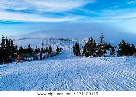 Ski piste in winter, Mountain Kopaonik, Serbia