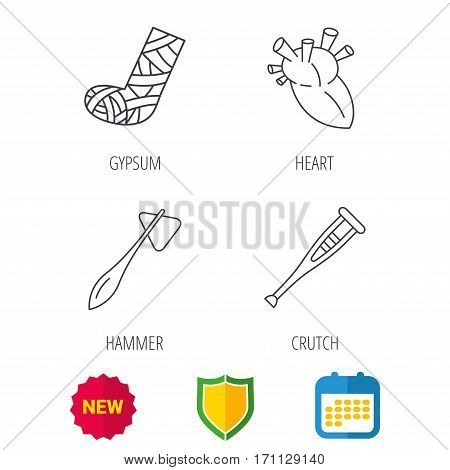 Gypsum, heart and medical hammer icons. Crutch linear sign. Shield protection, calendar and new tag web icons. Vector
