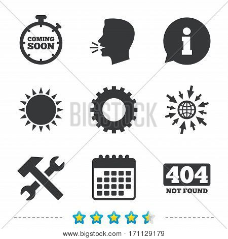 Coming soon icon. Repair service tool and gear symbols. Hammer with wrench signs. 404 Not found. Information, go to web and calendar icons. Sun and loud speak symbol. Vector