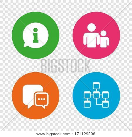 Information sign. Group of people and database symbols. Chat speech bubbles sign. Communication icons. Round buttons on transparent background. Vector