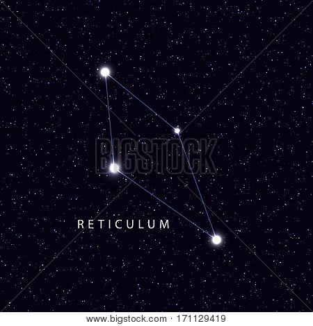 Sky Map with the name of the stars and constellations. Astronomical symbol constellation Reticulum