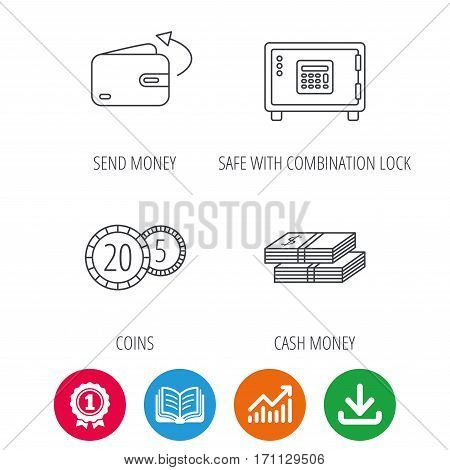 Coins, cash money and wallet icons. Safe box, send money linear signs. Award medal, growth chart and opened book web icons. Download arrow. Vector