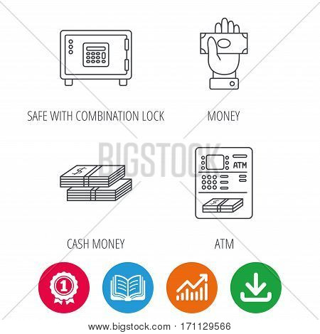 Give money, cash money and ATM icons. Safe box linear sign. Award medal, growth chart and opened book web icons. Download arrow. Vector