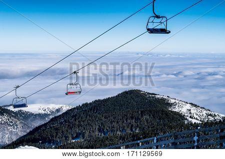 Empty chair ski lift, mountain Kopaonik, Serbia