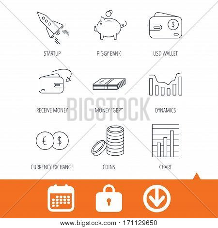 Piggy bank, cash money and startup rocket icons. Wallet, currency exchange and dollar usd linear signs. Chart, coins and dynamics icons. Download arrow, locker and calendar web icons. Vector