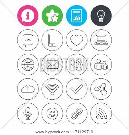 Information, light bulb and report signs. Communication icons. Smartphone, laptop and speech bubble symbols. Wi-fi and Rss. Online love dating, mail and globe thin outline signs. Favorite star symbol