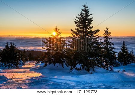 Winter sunset in Kopaonik mountain range, Serbia