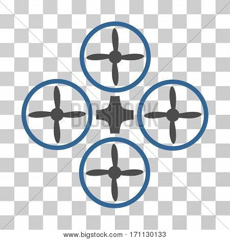 Quadcopter icon. Vector illustration style is flat iconic bicolor symbol cobalt and gray colors transparent background. Designed for web and software interfaces.