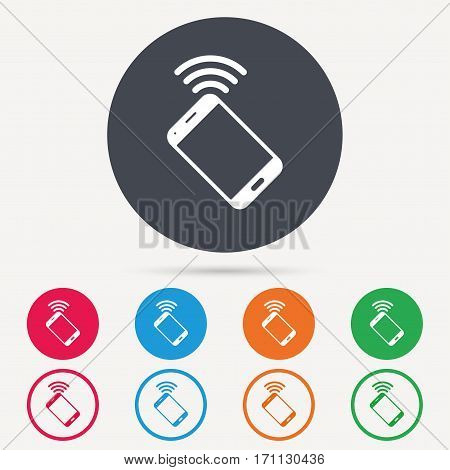 Cellphone icon. Mobile phone communication symbol. Round circle buttons. Colored flat web icons. Vector