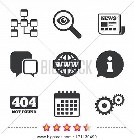 Website database icon. Internet globe and gear signs. 404 page not found symbol. Under construction. Newspaper, information and calendar icons. Investigate magnifier, chat symbol. Vector