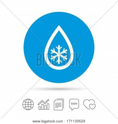 Defrosting sign icon. From ice to water symbol. Copy files, chat speech bubble and chart web icons. Vector
