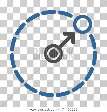Round Area Border icon. Vector illustration style is flat iconic bicolor symbol cobalt and gray colors transparent background. Designed for web and software interfaces.