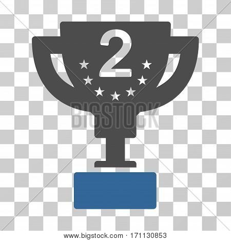 Second Prize Cup icon. Vector illustration style is flat iconic bicolor symbol cobalt and gray colors transparent background. Designed for web and software interfaces.