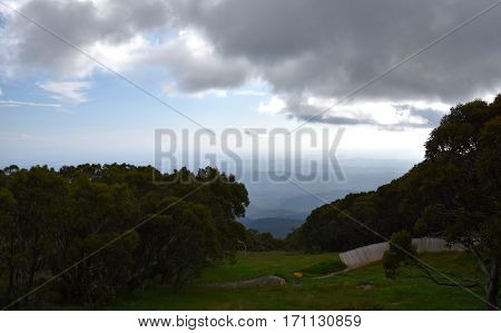 View from the top of Mt Baw Baw on a cloudy day. Mount Baw Baw is a mountain of the Great Dividing Range located in Victoria Australia.
