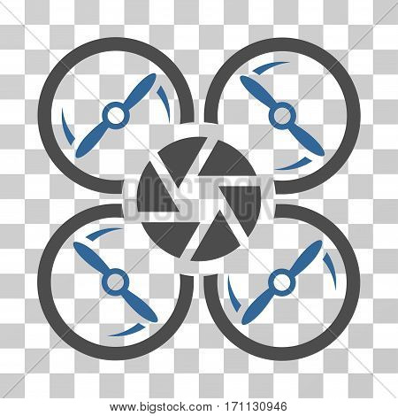 Shutter Drone icon. Vector illustration style is flat iconic bicolor symbol cobalt and gray colors transparent background. Designed for web and software interfaces.