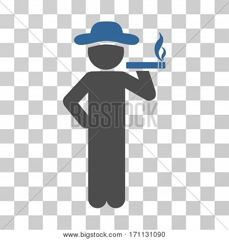 Smoking Gentleman icon. Vector illustration style is flat iconic bicolor symbol cobalt and gray colors transparent background. Designed for web and software interfaces.
