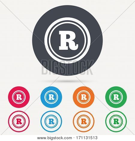 Registered trademark icon. Intellectual work protection symbol. Round circle buttons. Colored flat web icons. Vector