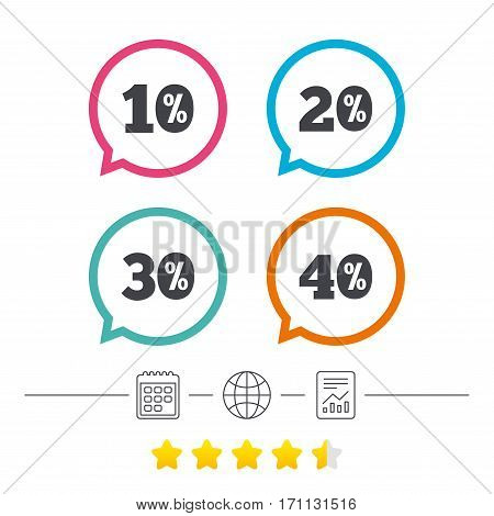 Sale discount icons. Special offer price signs. 10, 20, 30 and 40 percent off reduction symbols. Calendar, internet globe and report linear icons. Star vote ranking. Vector