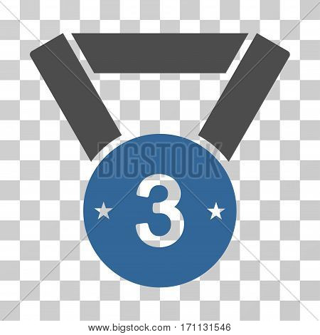 Third Medal icon. Vector illustration style is flat iconic bicolor symbol cobalt and gray colors transparent background. Designed for web and software interfaces.