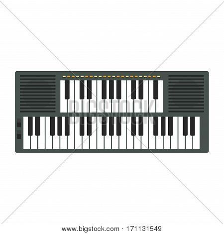 Vintage synthesizer musical equipment flat design vector illustration. Classical white black musical keyboard sound instrument. Harmony art entertainment.