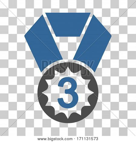 Third Place icon. Vector illustration style is flat iconic bicolor symbol cobalt and gray colors transparent background. Designed for web and software interfaces.